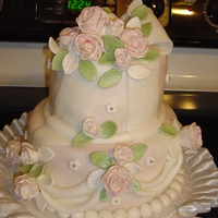 Garden Wedding 2 Tier Fondant covered Wedding Cake w/ Fondant Roses & Leaves