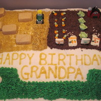 Grandpa's Birthday Cake This was a cake for my friends grandpa, who is a retired farmer. Vegetables are made out of modeling chocolate, hay bales out of RK square...