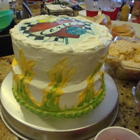 Baby Shower Cake   I painted a mural for my friend's nursery and made this cake to match.