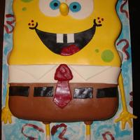 Sponge Bob   Vanilla cake with MMF. Thanks for looking. :)