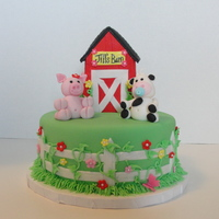 Barn Baby Shower Cake Barn is made of rice krispies and animals are made of gumpaste. TFL!