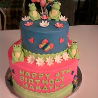 Frogs And Flowers I did this cake for my granddaughter's 4th birthday. She wanted it hot pink and blue with frogs. The frogs and flowers are fondant/...