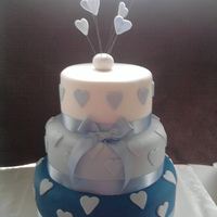 Blue And White Three Tier Cake With Hearts Sponge wedding cake, my first time doing tiering, with the pillars inside. The cake weighed a ton!!!