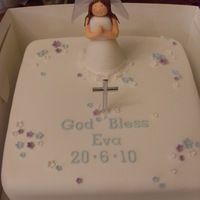 Communion Cake - Girl A first holy communion cake, the little girl wanted blue and purple as they were her favourite colours. I made the figure myself and was...