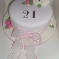 Cream And Pink 21St Cake Made this cake for my own birthday, I love anything pink and pretty, so I designed a pastel themed cake with my fave flowers on it.