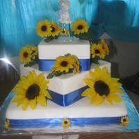 Sunflower Wedding Cake This was done for my g/f's wedding her theme was sunflowers