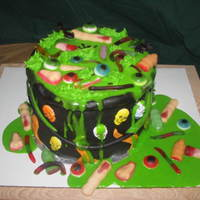 Witch's Brew 3 layer cake with green ganache...everything is edible