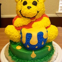 Winnie The Pooh Bear cake pan, a couple of modifications. Frosting is butter cream. Honey is made out of fondant.