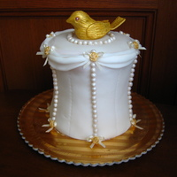 "Pearl And Gold Bodice This is a 5"" high practice lemon maderia cake with lemon icing and fondant. Bodice design was inspired by a wedding cake book. Pearls..."