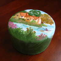 "Painted Cake This is a handpainted mini 4"" round fruitcake i made! It is freehand painted with gel colours diltued with vodka and also mixed with..."