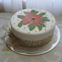 Poinsettia Christmas Cake This is the cake I decorated for Christmas this year. For the painting I worked off a Christmas poinsettia image i found off the internet...