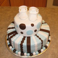 Blue & Brown Baby Shower Cake