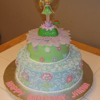 Tinkerbell Cake For 4Th Birthday Inspired by a cake on cc. Done exactly like the birthday girl wanted! She even picked out her cake topper. All buttercream with fondant...
