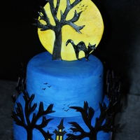 Spooky Halloween Cake All Fondant and gumpaste! I had alot of fun making this cake it was my first Halloween cake. Can't wait until next Halloween.