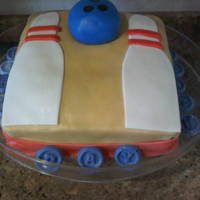 Bowling Cake Just strawberry cake with fondant accents....for my sweet nephews bday party