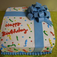 Gift Bd Cake  BD cake for my husband and our friend who shares BD. So, another reason for practicing - wanted to have nice corners, but I destroyed them...
