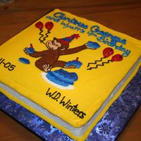 Curious George Book This is a buttercream cake with FBCT made to look like a curious george book