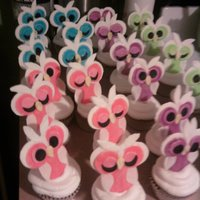 Snow Owl Cupcakes supser easy to make used cutters from wilton flower set and tips... will post directions if someone asks