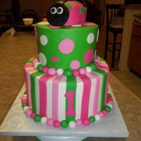 Pink And Green Ladybug This cake is buttercream with fondant accents. The ladybug is covered in fondant. I wish I had used a white backdrop for the photo. The...