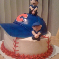 Chicago Cubs Cake Lower part is a 8 in vanilla cake covered in buttercream. For the hat I used one part of the ball pan and covered it with fondant. the bill...
