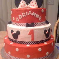 Minni Mouse Cake  Thanks to everyone who posted their beautiful Minnie Mouse Cakes. This is my first 3 tier cake. I used 12, 10 and 8 in pans. Cake was cover...