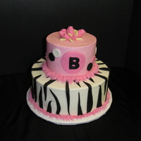 Zebra Striped Polka Dotted Baby Shower BC with fondant polka dots, zebra stripes, and roses.