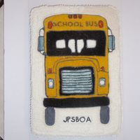 Bus Cake Cake I made for a event for bus drivers. It was a single yellow 12 x 18 sheet cake. Buttercream icing .