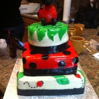 Ladybug I did this cake for my sisters shower... Sorry about the sagging.... we live in florida and the room was hot.