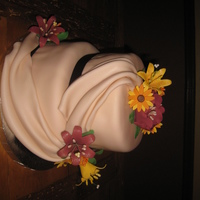 Fall Flowers Cake covered with Fondant. Flowers made of gumpaste. First time using all gumpaste for flowers.