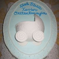 Baby Buggy Cake covered in buttercream. Baby buggy made of fondant. Fondant aroung sides of cake.