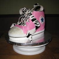 Pink High-Top Sneaker This cake was copied from keychain sneaker created by a boutique owner.