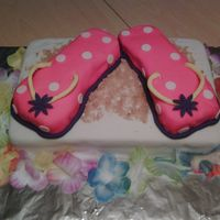 Luau Birthday Flip Flop Cake The flip flops are made out of funfetti cake covered in fondant and the base is a delicious double layer chocolate cake from scratch filled...
