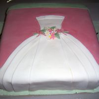 "Wedding Dress Cake   2 layer 12"" square WASC variation with gumpaste flowers. Pink background and wedding dress are both fondant."