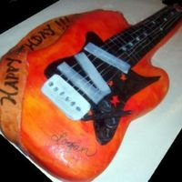 Guitar Cake  Electric guitar cake for my co-worker's son - made to match the party invitations. Carved from 9 x 13 WASC (guitar neck carved from 8...