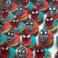 Spiderman And Venom Cupcakes These were basic yellow cupcakes with buttercream icing. Spiderman and Venom faces were made of sugar cookies, cut with an oval fondant...