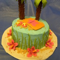 Beach Themed Cake   I love doing these fun themes with little details. Coconut mango cake with banana cream filling chosen by the 6 year old bday girl :)