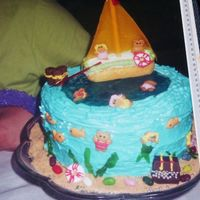 Ocean Fish Cake  This cake was decorated with Grahm Cracker Bear Cookies and then iced on their swimsuits. The mermaid's tail and also the seaweed was...