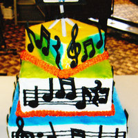 Musical Cake This cake was iced in buttercream, then painted, and decorated in color-flo music notes.