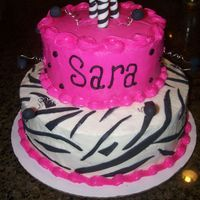 Sweet 16 Zebra Cake Sweet 16 Birtday cake done for a friend of my parent's daughter. Butter cream with fondant accents. I found the ideas of the candels...