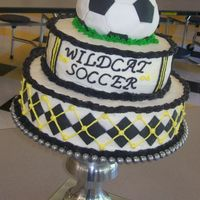 Wildcat Soccer Cake Buttercream with fondant accents