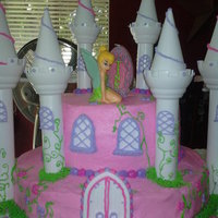 Pink Castle This was for a 5yr old's birthday. All buttercream icing, with royal icing accents.