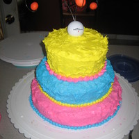 Funky 60Th Golf Bday Cake Made this for a friends moms 60th Bday. Drilled out a Golf ball and inserted wires and then hung the gumpaste balls from the ends. She...