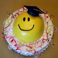 "Smile! Ok, so this cake was a quicky, last minute deal. I had to do with what was on hand. The bottom round is a 10"" round, 2 layers of..."