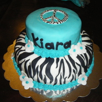 Turquoise And Zebra Print Made for a girl turning 14. I incorporated all of her favorite things.
