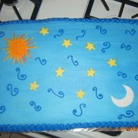Stars, Moon And Sun It was a two layer half sheets. She only said she wanted the sun and the moon, this is what i came up with