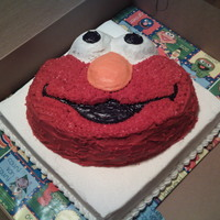 Elmo Cake chocolate Elmo, white sheet cake for my daughters 3rd birthday
