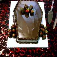 Coffin Grooms Cake   chocolate ganache covered coffin cake
