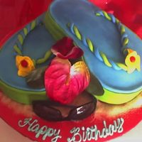 Flip Flops Tropical theme birthday cake. Mandarin orange cake with pineapple creme filling. Thiswas such a fun cake to do. I completed it after...