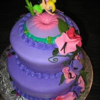 Little Baby Fairy Cake   Cute tinkerbell theme cake. I made this for my daughter`s baby shower. Made with MM fondant.