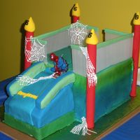 Spiderman Bounce House Spiderman bounce house...Rainbowlicious and chocolate cake with bc...sugarveil webs..